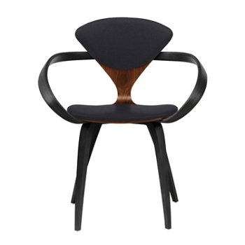 Shown in Classic Walnut Seat, Ebony Lacquer Arms & Legs, Divina 191