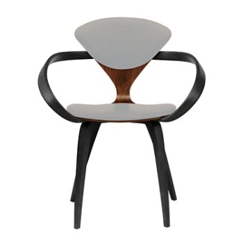 Shown in Classic Walnut Seat, Ebony Lacquer Arms & Legs, Divina 224