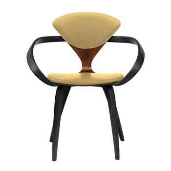 Shown in Classic Walnut Seat, Ebony Lacquer Arms & Legs, Divina 236
