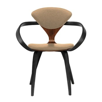 Shown in Classic Walnut Seat, Ebony Lacquer Arms & Legs, Divina 334