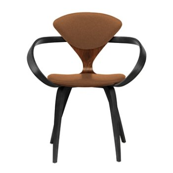 Shown in Classic Walnut Seat, Ebony Lacquer Arms & Legs, Divina 346