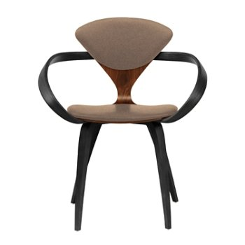 Shown in Classic Walnut Seat, Ebony Lacquer Arms & Legs, Divina 356