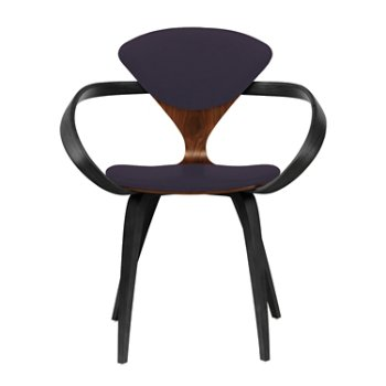Shown in Classic Walnut Seat, Ebony Lacquer Arms & Legs, Divina 376