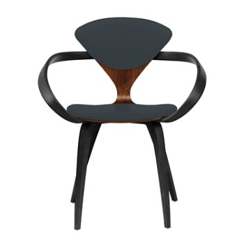 Shown in Classic Walnut Seat, Ebony Lacquer Arms & Legs, Divina 384