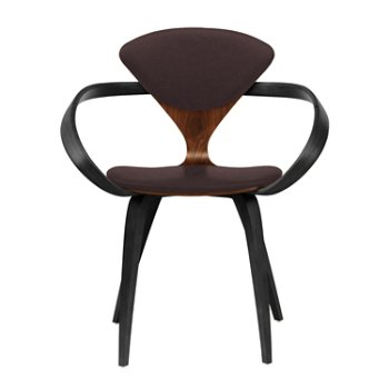Shown in Classic Walnut Seat, Ebony Lacquer Arms & Legs, Divina 393
