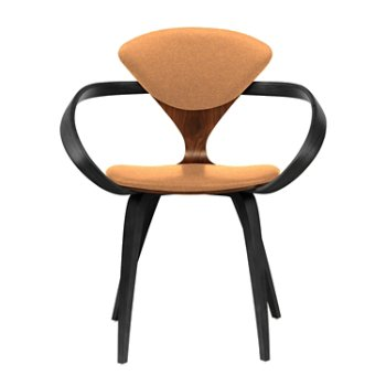 Shown in Classic Walnut Seat, Ebony Lacquer Arms & Legs, Divina 526