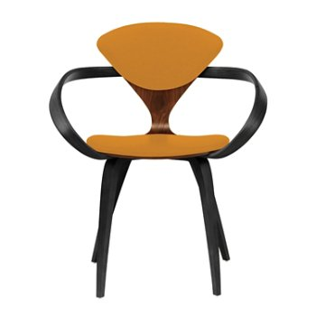 Shown in Classic Walnut Seat, Ebony Lacquer Arms & Legs, Divina 536
