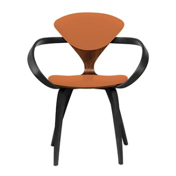 Shown in Classic Walnut Seat, Ebony Lacquer Arms & Legs, Divina 542