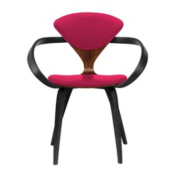 Shown in Classic Walnut Seat, Ebony Lacquer Arms & Legs, Divina 636