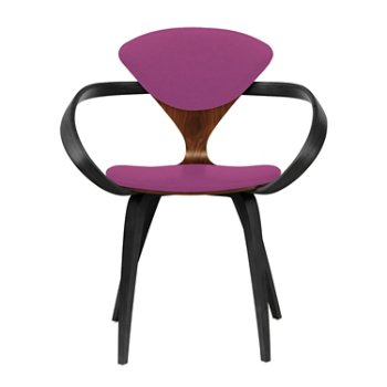 Shown in Classic Walnut Seat, Ebony Lacquer Arms & Legs, Divina 662