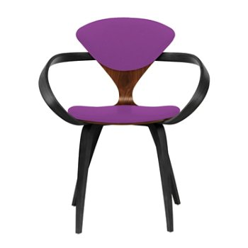 Shown in Classic Walnut Seat, Ebony Lacquer Arms & Legs, Divina 666