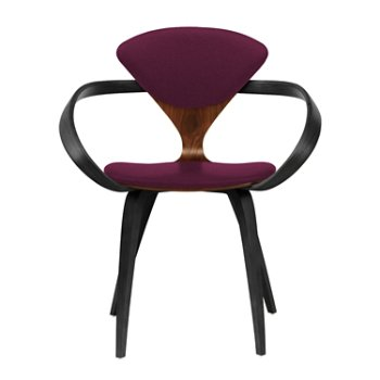 Shown in Classic Walnut Seat, Ebony Lacquer Arms & Legs, Divina 671