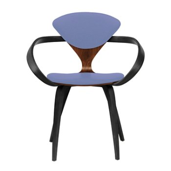 Shown in Classic Walnut Seat, Ebony Lacquer Arms & Legs, Divina 676