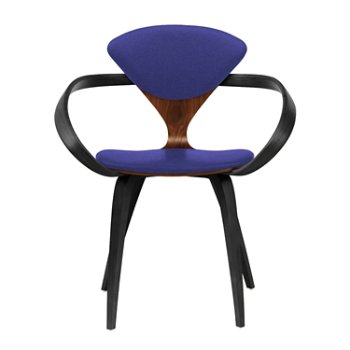 Shown in Classic Walnut Seat, Ebony Lacquer Arms & Legs, Divina 684