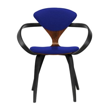 Shown in Classic Walnut Seat, Ebony Lacquer Arms & Legs, Divina 686