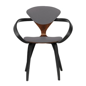 Shown in Classic Walnut Seat, Ebony Lacquer Arms & Legs, Divina 691