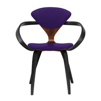 Shown in Classic Walnut Seat, Ebony Lacquer Arms & Legs, Divina 692
