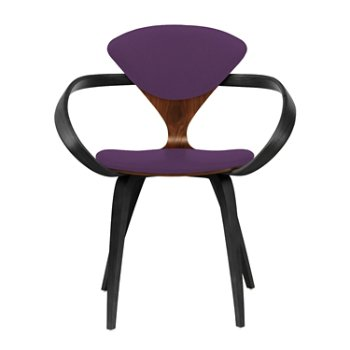 Shown in Classic Walnut Seat, Ebony Lacquer Arms & Legs, Divina 696