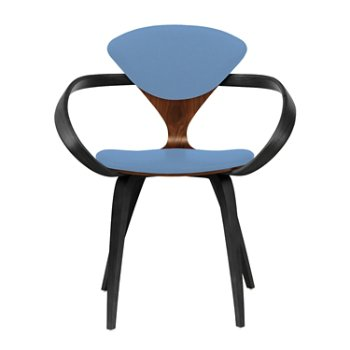 Shown in Classic Walnut Seat, Ebony Lacquer Arms & Legs, Divina 742