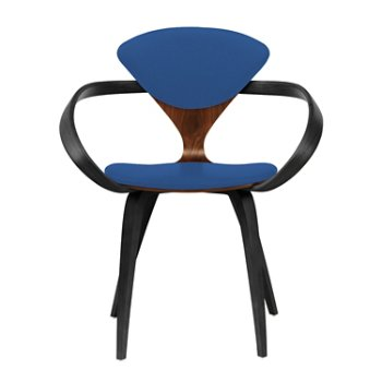 Shown in Classic Walnut Seat, Ebony Lacquer Arms & Legs, Divina 756