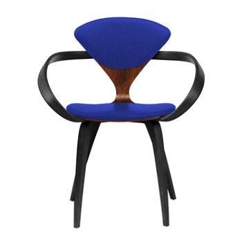 Shown in Classic Walnut Seat, Ebony Lacquer Arms & Legs, Divina 782