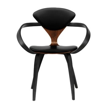 Shown in Classic Walnut Seat, Ebony Lacquer Arms & Legs, Sabrina Leather Black