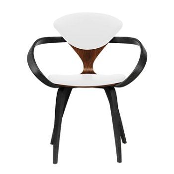 Shown in Classic Walnut Seat, Ebony Lacquer Arms & Legs, Sabrina Leather White