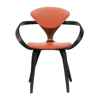 Shown in Classic Walnut Seat, Ebony Lacquer Arms & Legs, Sabrina Leather Robotic Orange