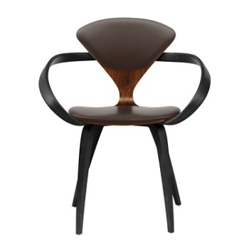 Shown in Classic Walnut Seat, Ebony Lacquer Arms & Legs, Sabrina Leather Coffee Bean
