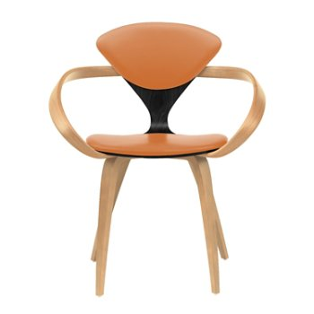 Shown in Ebony Lacquer Seat, Natural Beech Arms & Legs, Vincenza Leather VZ-2125