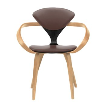 Shown in Ebony Lacquer Seat, Natural Beech Arms & Legs, Vincenza Leather VZ-2115