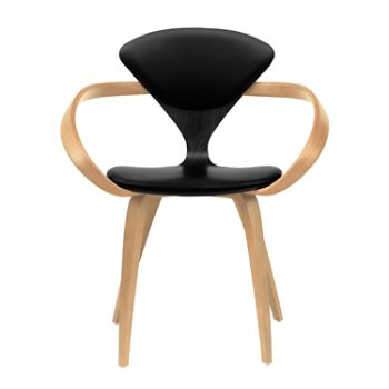 Shown in Ebony Lacquer Seat, Natural Beech Arms & Legs, Sabrina Leather Black