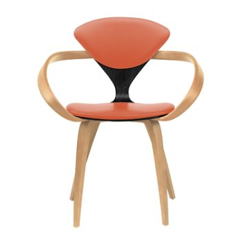 Shown in Ebony Lacquer Seat, Natural Beech Arms & Legs, Sabrina Leather Robotic Orange