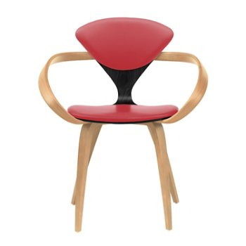 Shown in Ebony Lacquer Seat, Natural Beech Arms & Legs, Sabrina Leather Carmen
