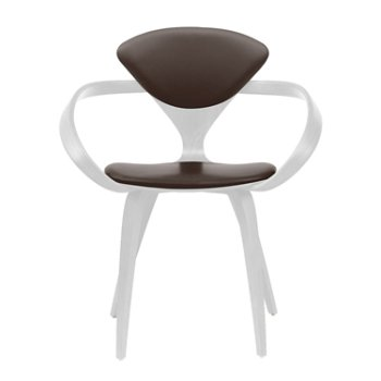 Shown in White Lacquer, Sabrina Leather Coffee Bean