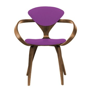 Shown in Natural Walnut Seat & Legs, Solid Walnut Arms, Divina 666
