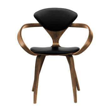 Shown in Natural Walnut Seat & Legs, Solid Walnut Arms, Sabrina Leather Black