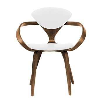 Shown in Natural Walnut Seat & Legs, Solid Walnut Arms, Sabrina Leather White