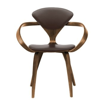 Shown in Natural Walnut Seat & Legs, Solid Walnut Arms, Sabrina Leather Coffee Bean
