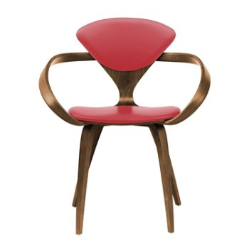 Shown in Natural Walnut Seat & Legs, Solid Walnut Arms, Sabrina Leather Carmen