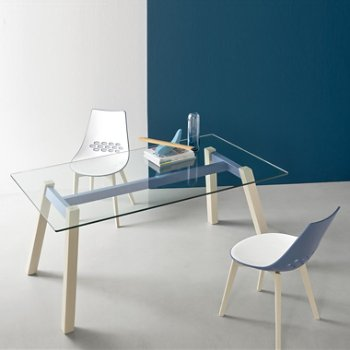 Shown in Glossy Sky Blue, Bleached Beech finish