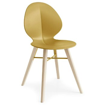 Shown in Matte Mustard Yellow with Bleached Beech leg finish with Matte Mustard Yellow base