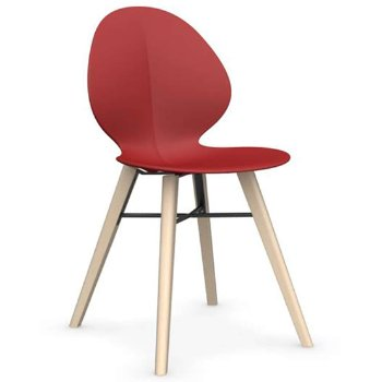 Shown in Matte Red with Bleached Beech leg finish with Matte Grey base