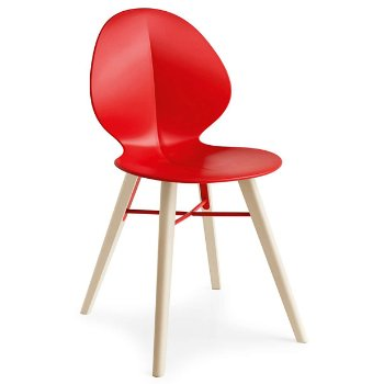 Shown in Matte Red with Bleached Beech leg finish with Matte Red base