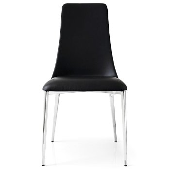 Shown in Leather Black fabric with Chromed finish