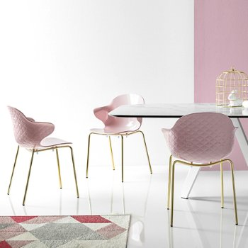 Shown in Polished Brass finish, Glossy Pale Pink