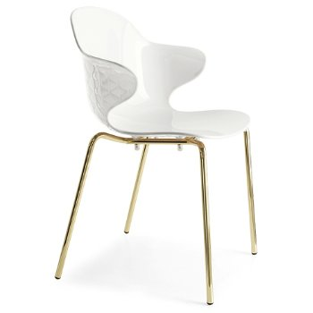 Shown in Polished Brass frame finish, Glossy Optic White