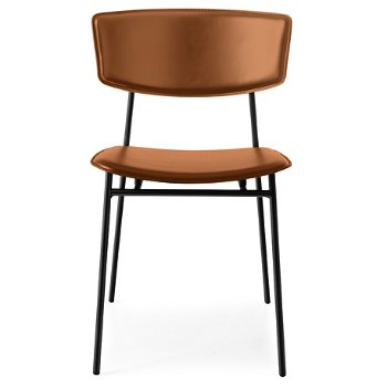 Fifties Upholstered Metal Chair - Leather