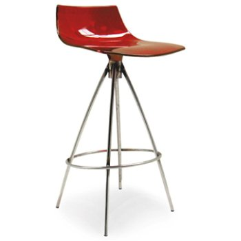 Transparent Red, Chromed finish, Counterstool
