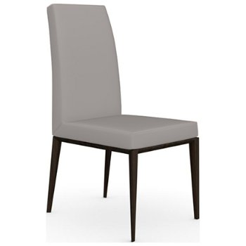 Shown in Smoke finish, Leather Taupe fabric